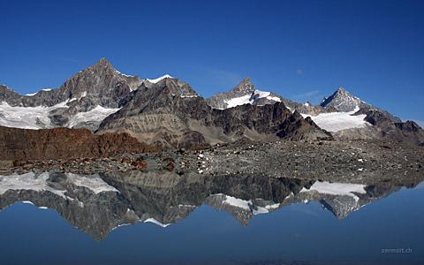 Obergabelhorn 4063m, Zinalrothorn 4221m, Weisshorn 4506m